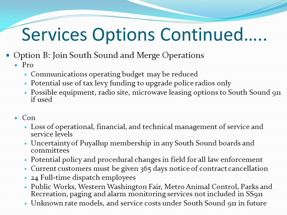 Services Options Continued…..