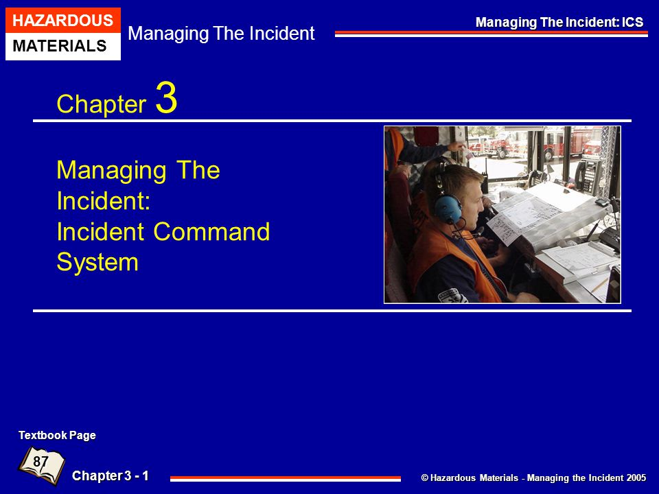 © Hazardous Materials - Managing the Incident 2005 Managing The Incident HAZARDOUS MATERIALS Chapter 3 - 22 Managing The Incident: ICS Pre-designated Incident Facilities - EOC An EOC Should Be Equipped With The Following: Electronic Communication Capabilities, Including The Use Of Computers And Email, The Internet And Intranet, And The Development Of Incident Or Agency-specific Websites.