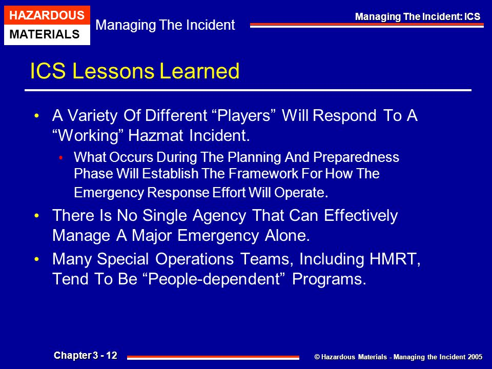 © Hazardous Materials - Managing the Incident 2005 Managing The Incident HAZARDOUS MATERIALS Chapter 3 - 12 Managing The Incident: ICS ICS Lessons Lea