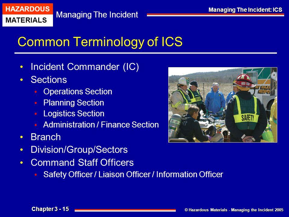 © Hazardous Materials - Managing the Incident 2005 Managing The Incident HAZARDOUS MATERIALS Chapter 3 - 15 Managing The Incident: ICS Common Terminol