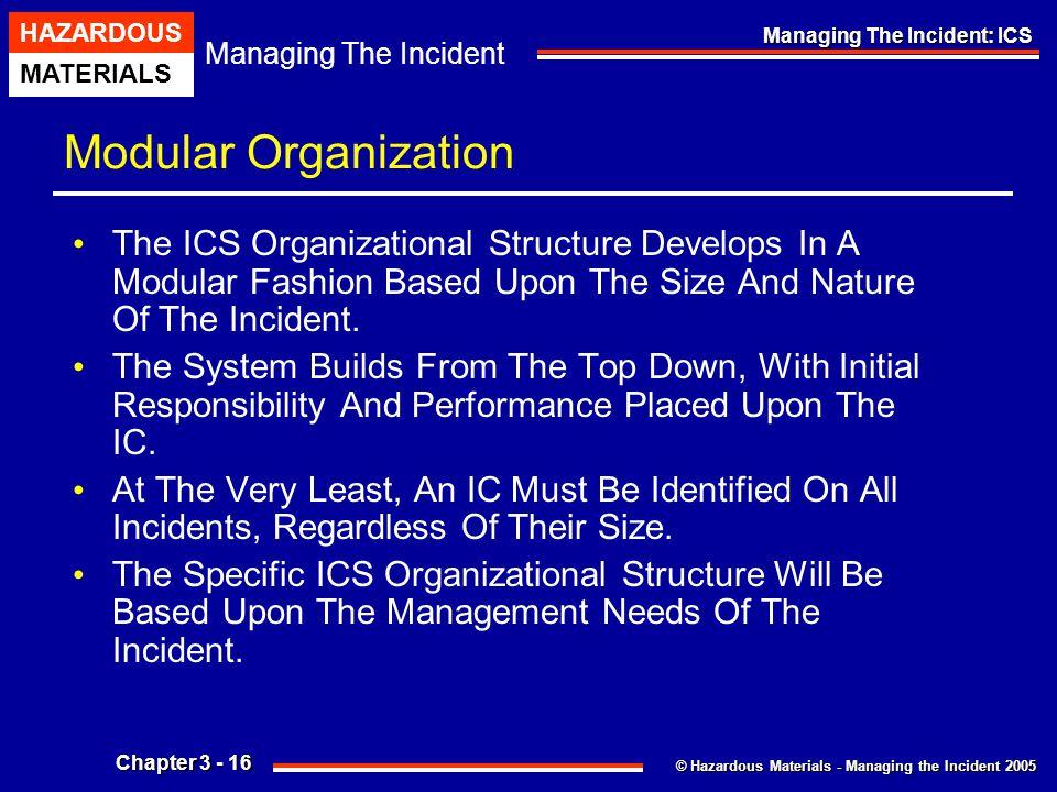 © Hazardous Materials - Managing the Incident 2005 Managing The Incident HAZARDOUS MATERIALS Chapter 3 - 16 Managing The Incident: ICS Modular Organiz