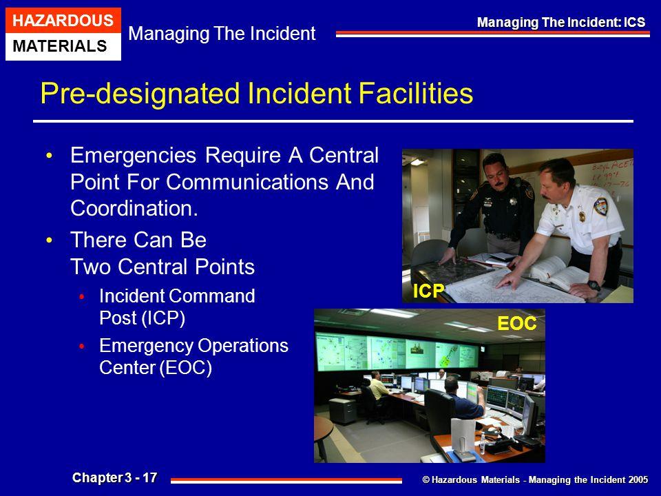 © Hazardous Materials - Managing the Incident 2005 Managing The Incident HAZARDOUS MATERIALS Chapter 3 - 17 Managing The Incident: ICS Pre-designated