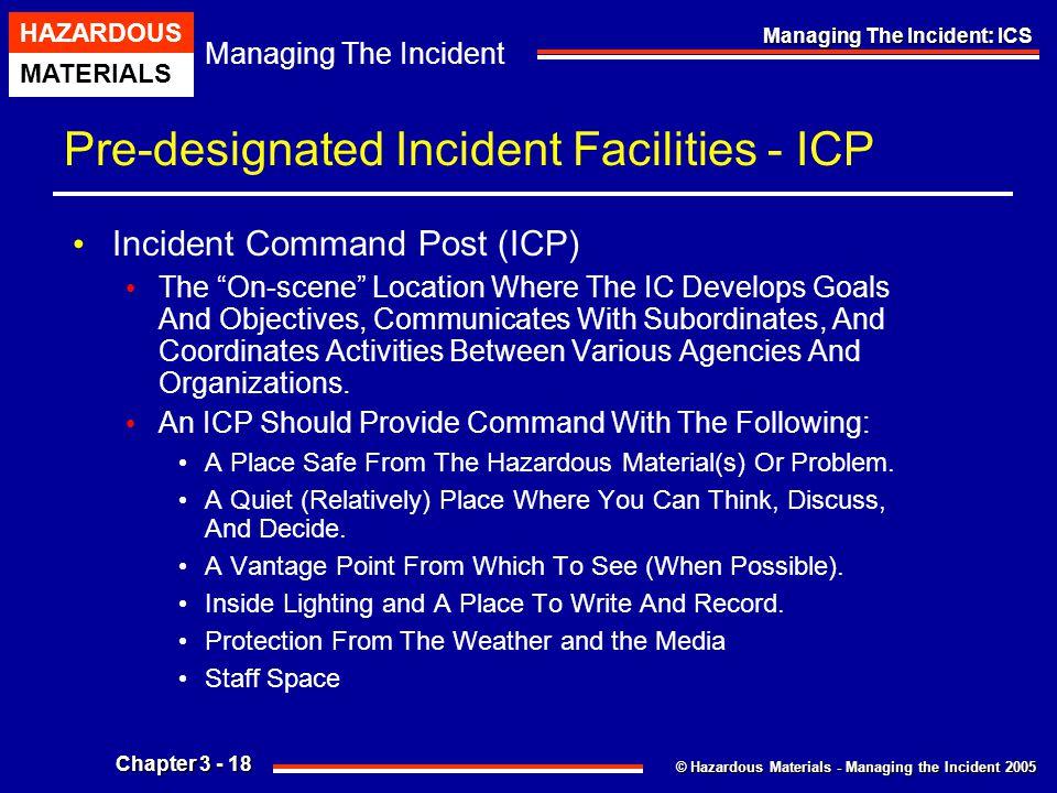 © Hazardous Materials - Managing the Incident 2005 Managing The Incident HAZARDOUS MATERIALS Chapter 3 - 18 Managing The Incident: ICS Pre-designated