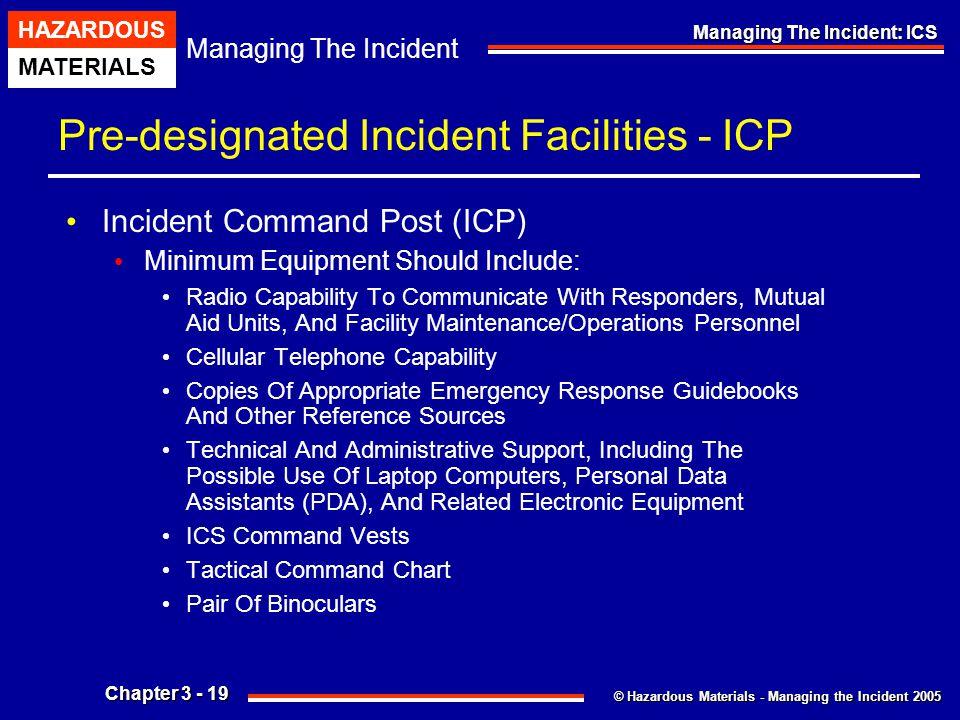 © Hazardous Materials - Managing the Incident 2005 Managing The Incident HAZARDOUS MATERIALS Chapter 3 - 19 Managing The Incident: ICS Pre-designated