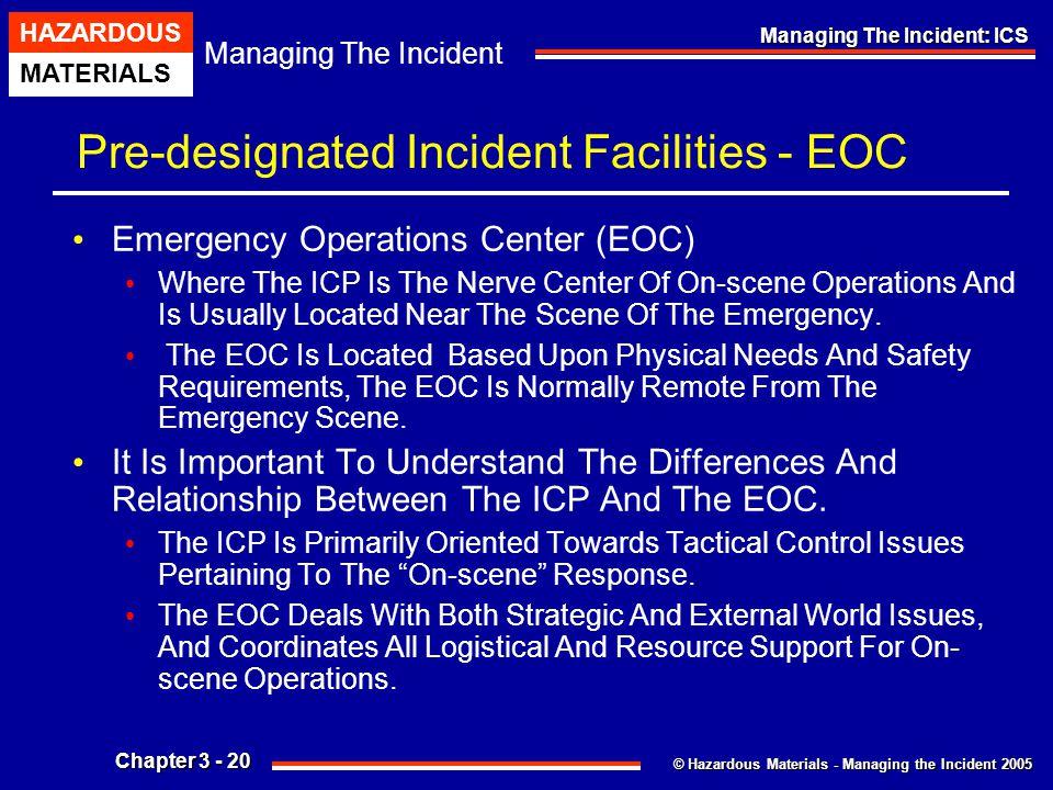 © Hazardous Materials - Managing the Incident 2005 Managing The Incident HAZARDOUS MATERIALS Chapter 3 - 20 Managing The Incident: ICS Pre-designated