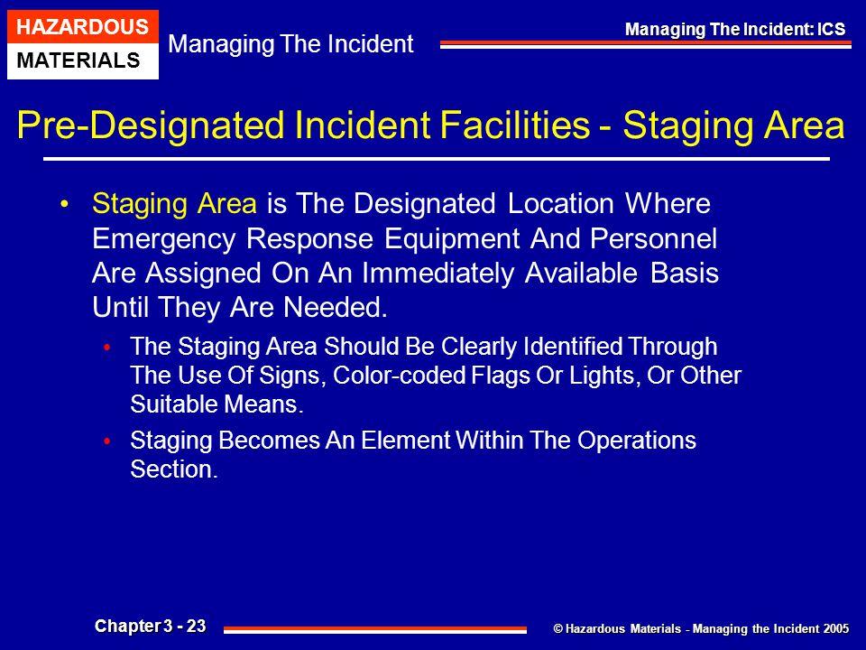 © Hazardous Materials - Managing the Incident 2005 Managing The Incident HAZARDOUS MATERIALS Chapter 3 - 23 Managing The Incident: ICS Pre-Designated