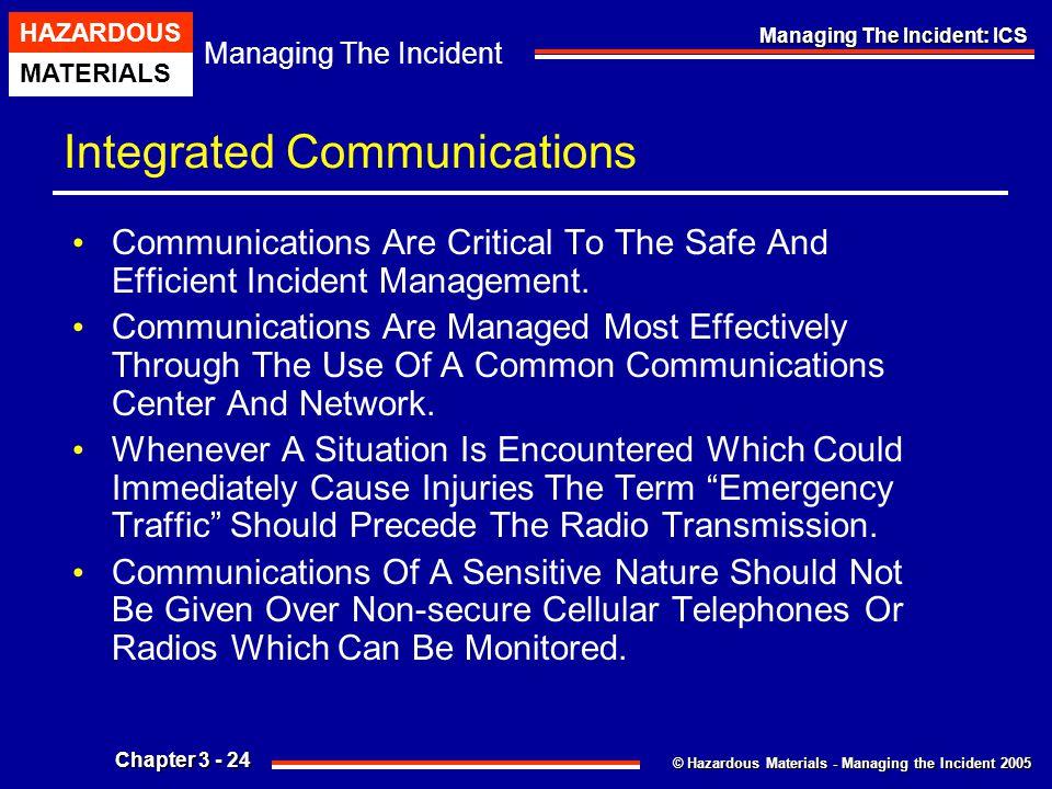 © Hazardous Materials - Managing the Incident 2005 Managing The Incident HAZARDOUS MATERIALS Chapter 3 - 24 Managing The Incident: ICS Integrated Comm