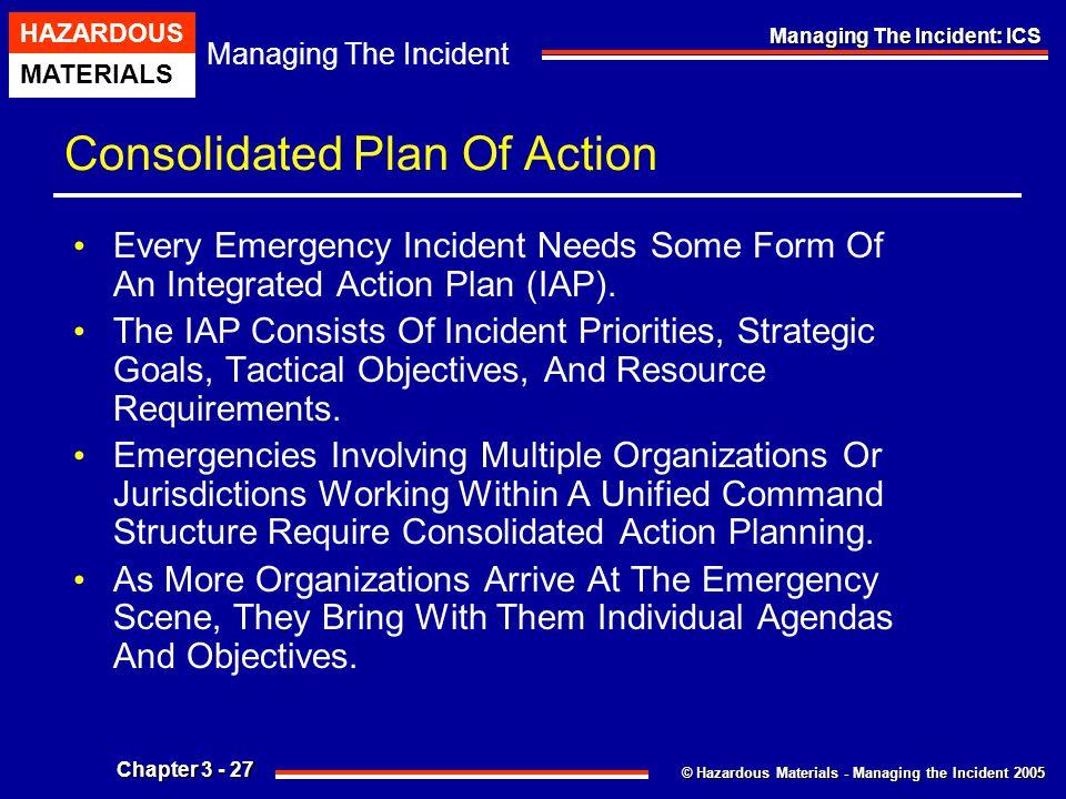 © Hazardous Materials - Managing the Incident 2005 Managing The Incident HAZARDOUS MATERIALS Chapter 3 - 27 Managing The Incident: ICS Consolidated Pl