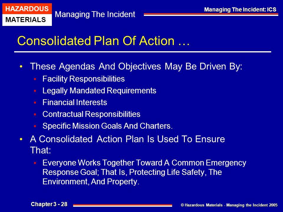 © Hazardous Materials - Managing the Incident 2005 Managing The Incident HAZARDOUS MATERIALS Chapter 3 - 28 Managing The Incident: ICS Consolidated Pl