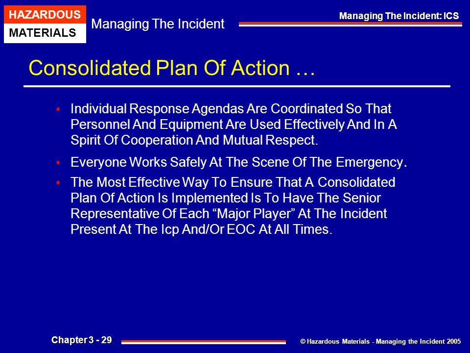 © Hazardous Materials - Managing the Incident 2005 Managing The Incident HAZARDOUS MATERIALS Chapter 3 - 29 Managing The Incident: ICS Consolidated Pl