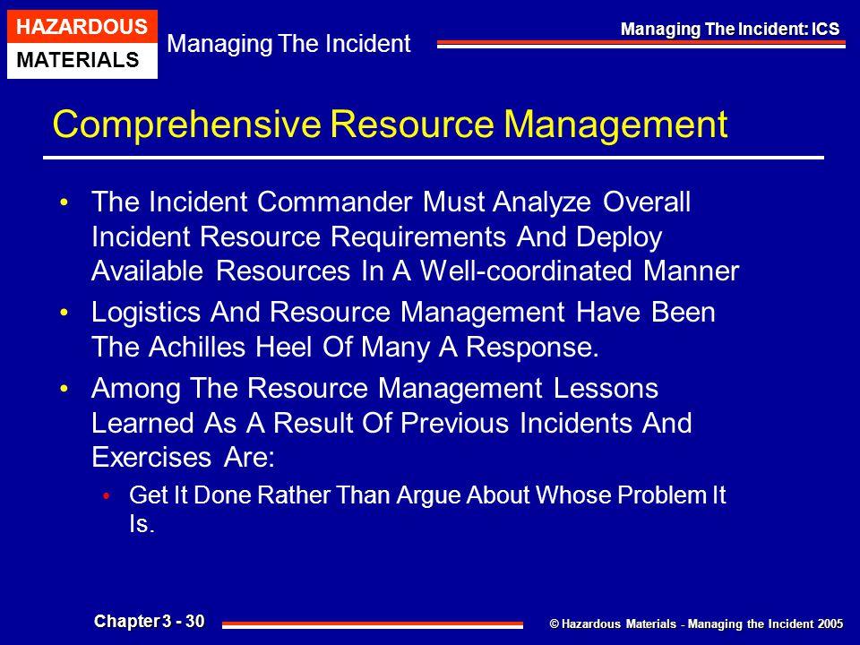 © Hazardous Materials - Managing the Incident 2005 Managing The Incident HAZARDOUS MATERIALS Chapter 3 - 30 Managing The Incident: ICS Comprehensive R