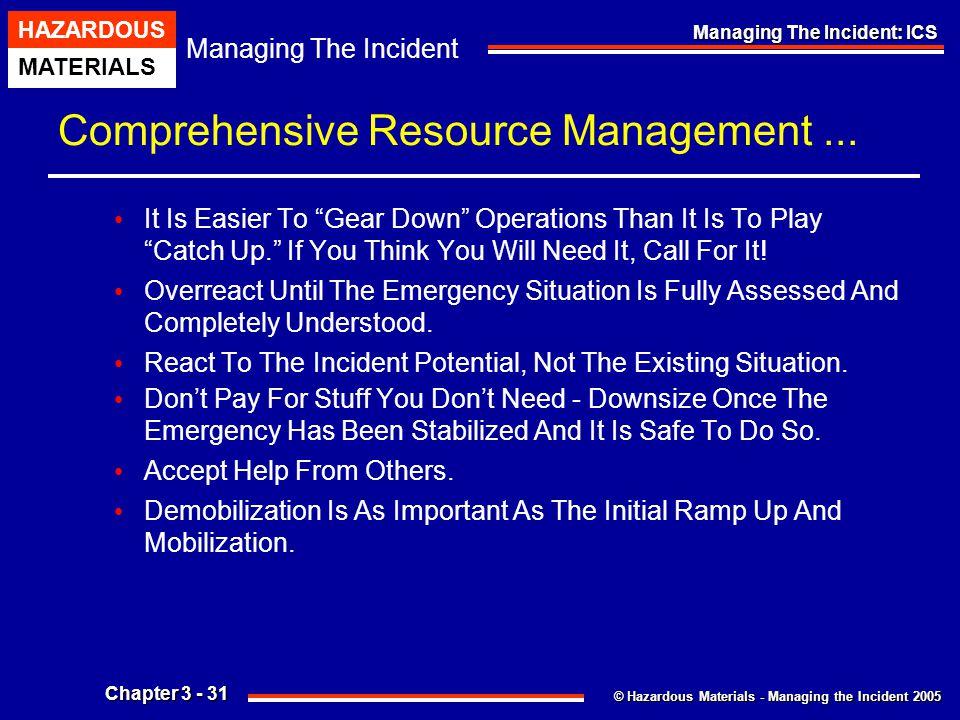 © Hazardous Materials - Managing the Incident 2005 Managing The Incident HAZARDOUS MATERIALS Chapter 3 - 31 Managing The Incident: ICS Comprehensive R