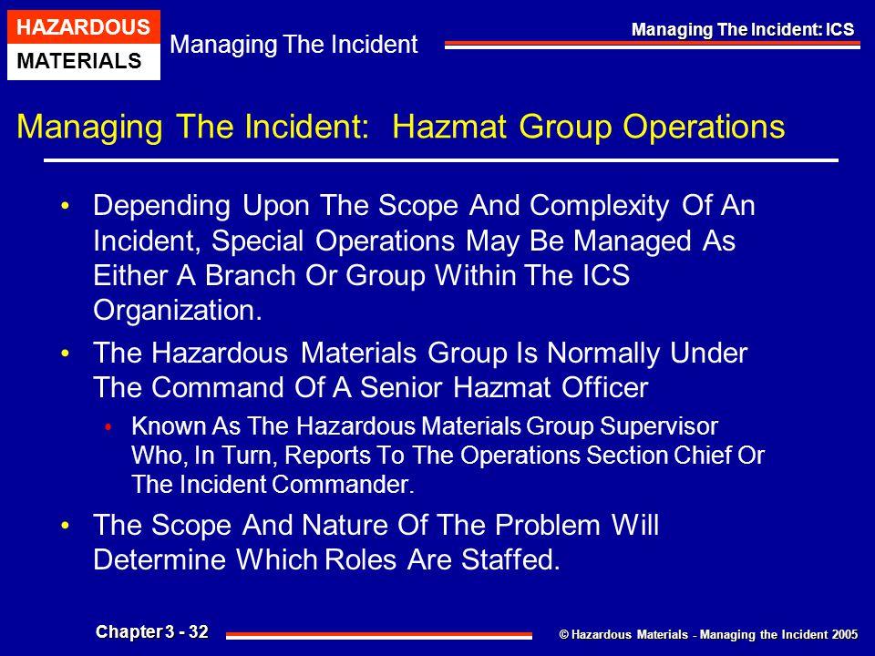 © Hazardous Materials - Managing the Incident 2005 Managing The Incident HAZARDOUS MATERIALS Chapter 3 - 32 Managing The Incident: ICS Managing The In