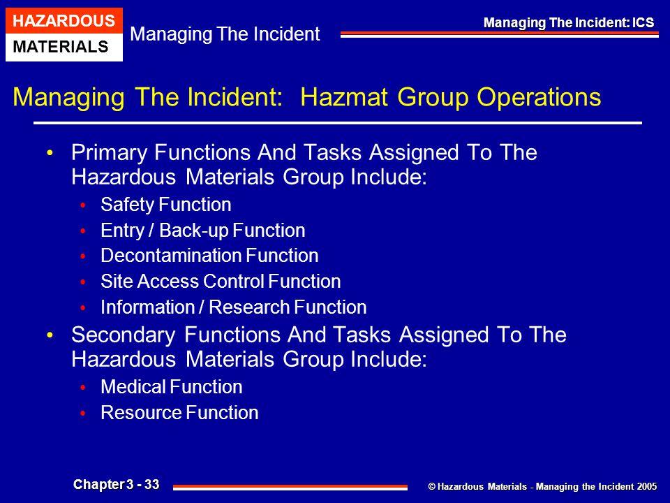© Hazardous Materials - Managing the Incident 2005 Managing The Incident HAZARDOUS MATERIALS Chapter 3 - 33 Managing The Incident: ICS Managing The In