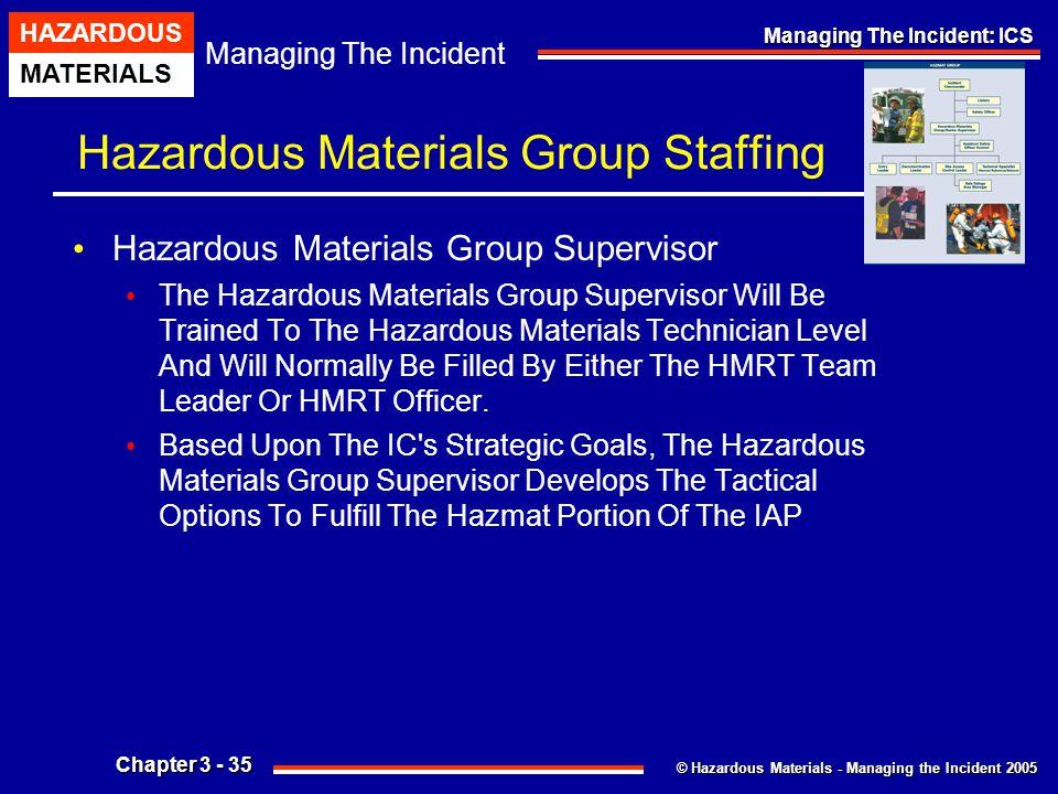 © Hazardous Materials - Managing the Incident 2005 Managing The Incident HAZARDOUS MATERIALS Chapter 3 - 35 Managing The Incident: ICS Hazardous Mater