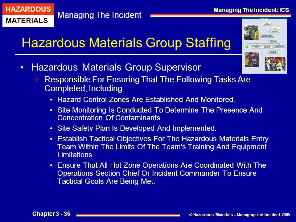 © Hazardous Materials - Managing the Incident 2005 Managing The Incident HAZARDOUS MATERIALS Chapter 3 - 36 Managing The Incident: ICS Hazardous Mater