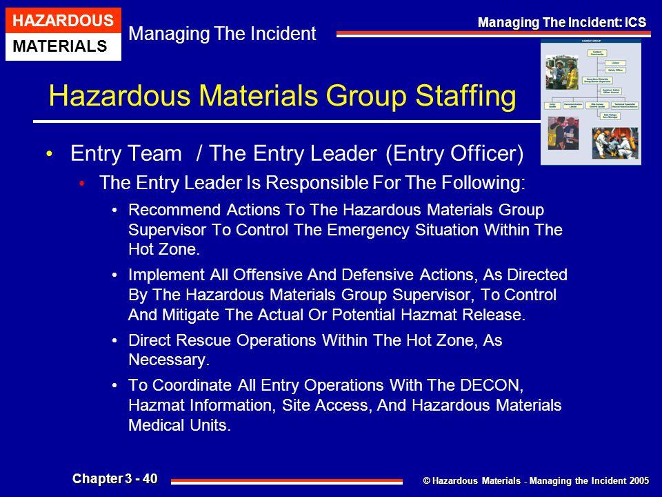 © Hazardous Materials - Managing the Incident 2005 Managing The Incident HAZARDOUS MATERIALS Chapter 3 - 40 Managing The Incident: ICS Hazardous Mater