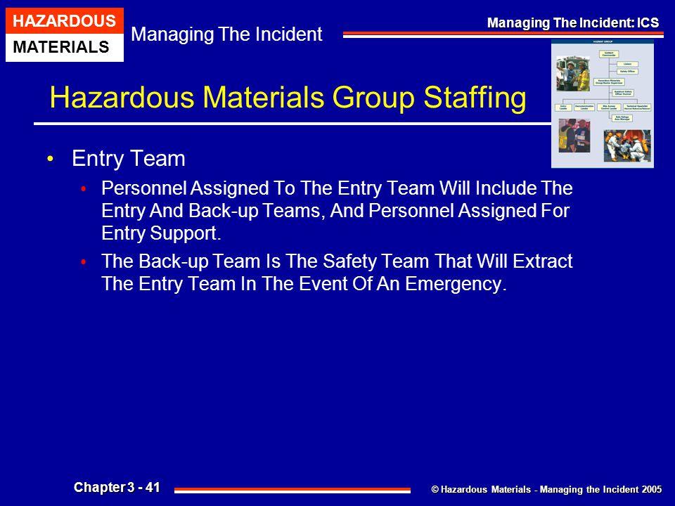 © Hazardous Materials - Managing the Incident 2005 Managing The Incident HAZARDOUS MATERIALS Chapter 3 - 41 Managing The Incident: ICS Hazardous Mater