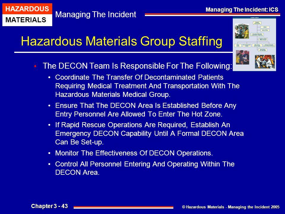 © Hazardous Materials - Managing the Incident 2005 Managing The Incident HAZARDOUS MATERIALS Chapter 3 - 43 Managing The Incident: ICS Hazardous Mater
