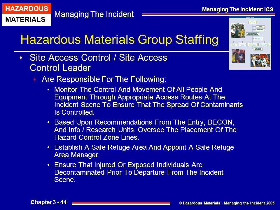 © Hazardous Materials - Managing the Incident 2005 Managing The Incident HAZARDOUS MATERIALS Chapter 3 - 44 Managing The Incident: ICS Hazardous Mater