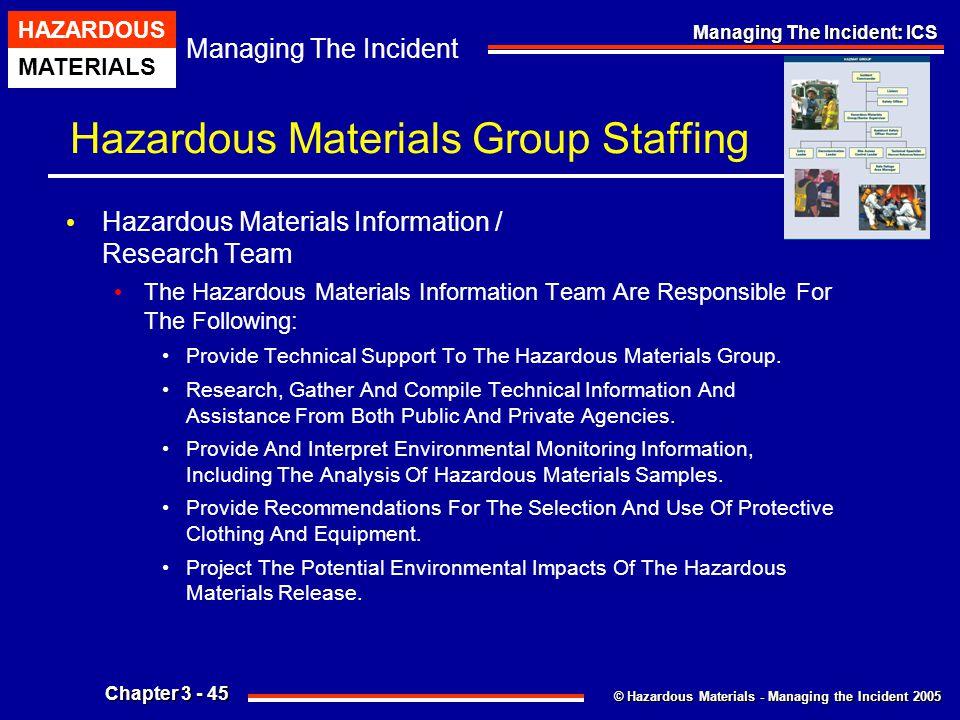 © Hazardous Materials - Managing the Incident 2005 Managing The Incident HAZARDOUS MATERIALS Chapter 3 - 45 Managing The Incident: ICS Hazardous Mater