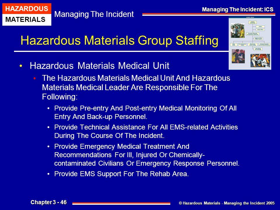 © Hazardous Materials - Managing the Incident 2005 Managing The Incident HAZARDOUS MATERIALS Chapter 3 - 46 Managing The Incident: ICS Hazardous Mater