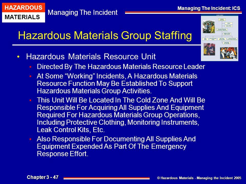 © Hazardous Materials - Managing the Incident 2005 Managing The Incident HAZARDOUS MATERIALS Chapter 3 - 47 Managing The Incident: ICS Hazardous Mater
