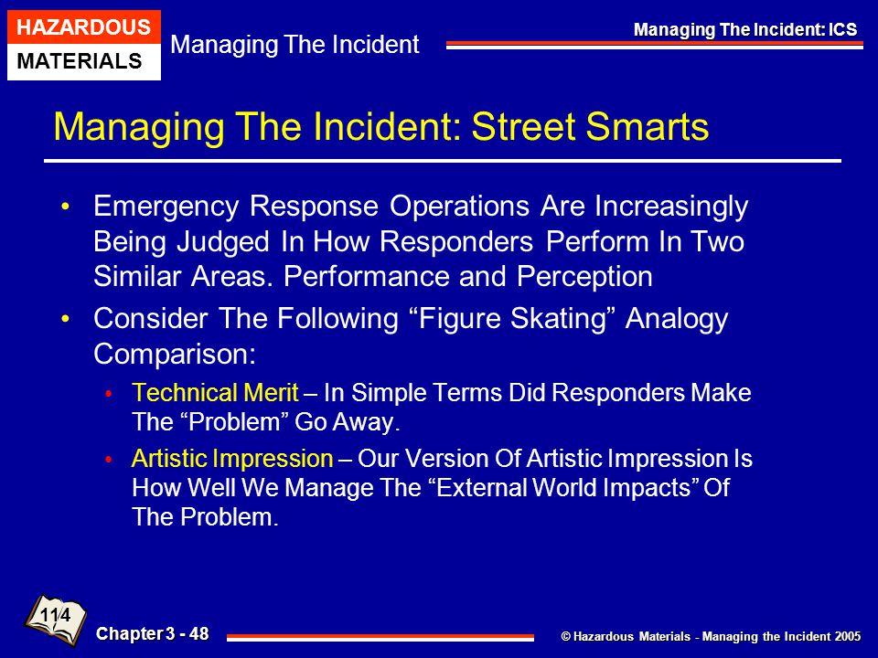 © Hazardous Materials - Managing the Incident 2005 Managing The Incident HAZARDOUS MATERIALS Chapter 3 - 48 Managing The Incident: ICS Managing The In
