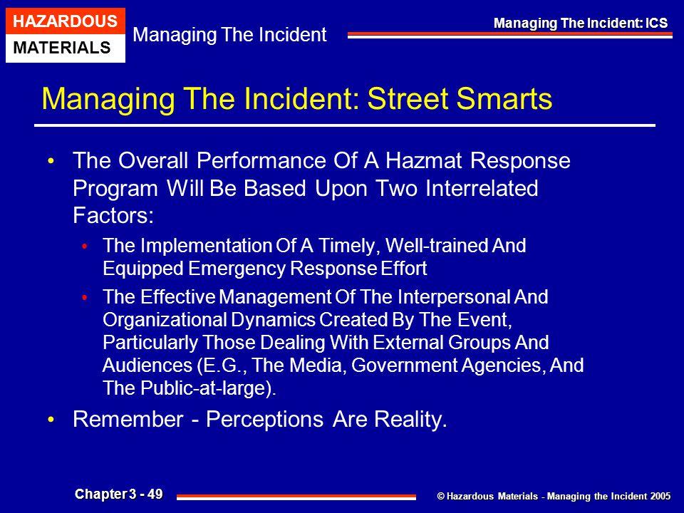 © Hazardous Materials - Managing the Incident 2005 Managing The Incident HAZARDOUS MATERIALS Chapter 3 - 49 Managing The Incident: ICS Managing The In