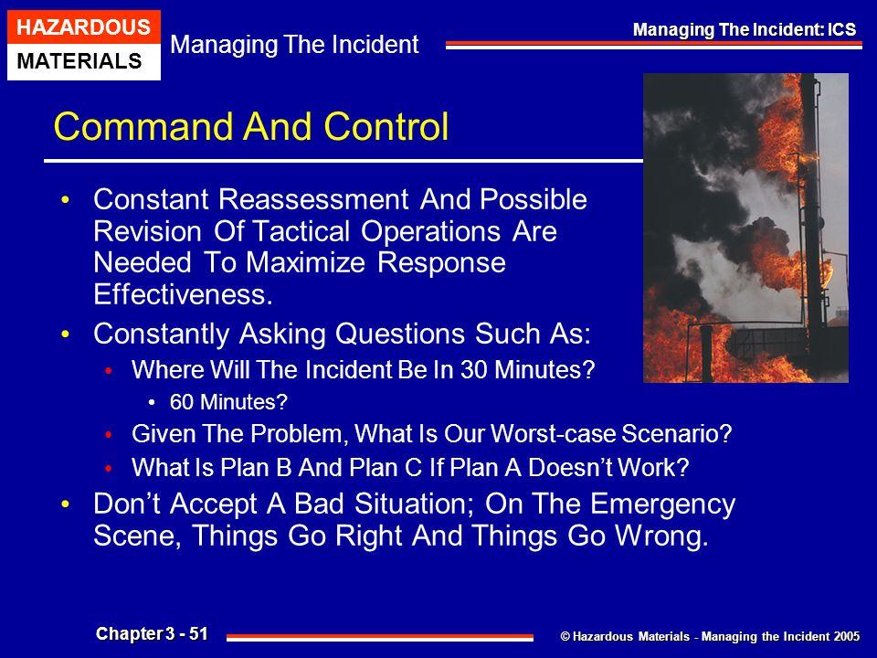 © Hazardous Materials - Managing the Incident 2005 Managing The Incident HAZARDOUS MATERIALS Chapter 3 - 51 Managing The Incident: ICS Command And Con