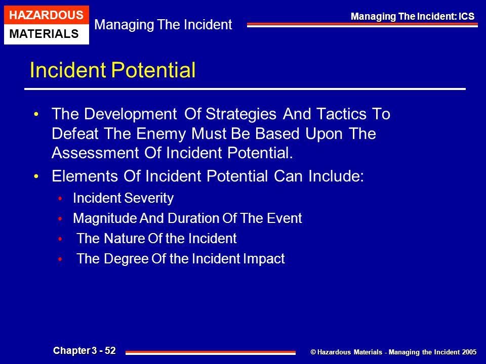 © Hazardous Materials - Managing the Incident 2005 Managing The Incident HAZARDOUS MATERIALS Chapter 3 - 52 Managing The Incident: ICS Incident Potent
