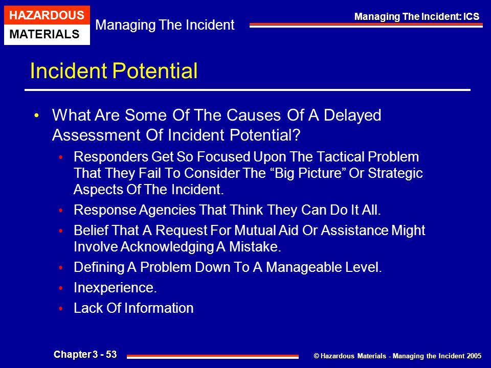 © Hazardous Materials - Managing the Incident 2005 Managing The Incident HAZARDOUS MATERIALS Chapter 3 - 53 Managing The Incident: ICS Incident Potent
