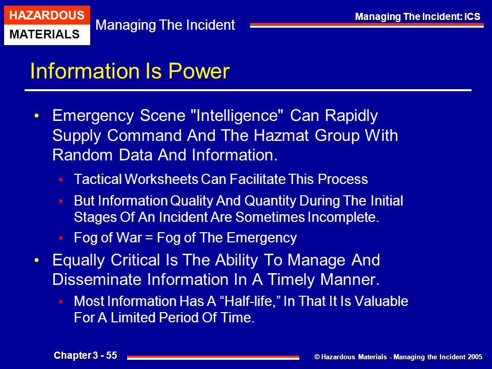 © Hazardous Materials - Managing the Incident 2005 Managing The Incident HAZARDOUS MATERIALS Chapter 3 - 55 Managing The Incident: ICS Information Is