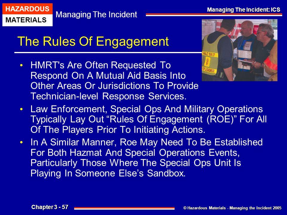 © Hazardous Materials - Managing the Incident 2005 Managing The Incident HAZARDOUS MATERIALS Chapter 3 - 57 Managing The Incident: ICS The Rules Of En
