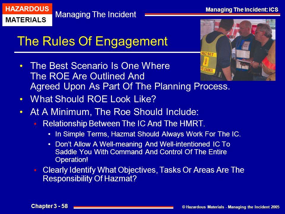 © Hazardous Materials - Managing the Incident 2005 Managing The Incident HAZARDOUS MATERIALS Chapter 3 - 58 Managing The Incident: ICS The Rules Of En