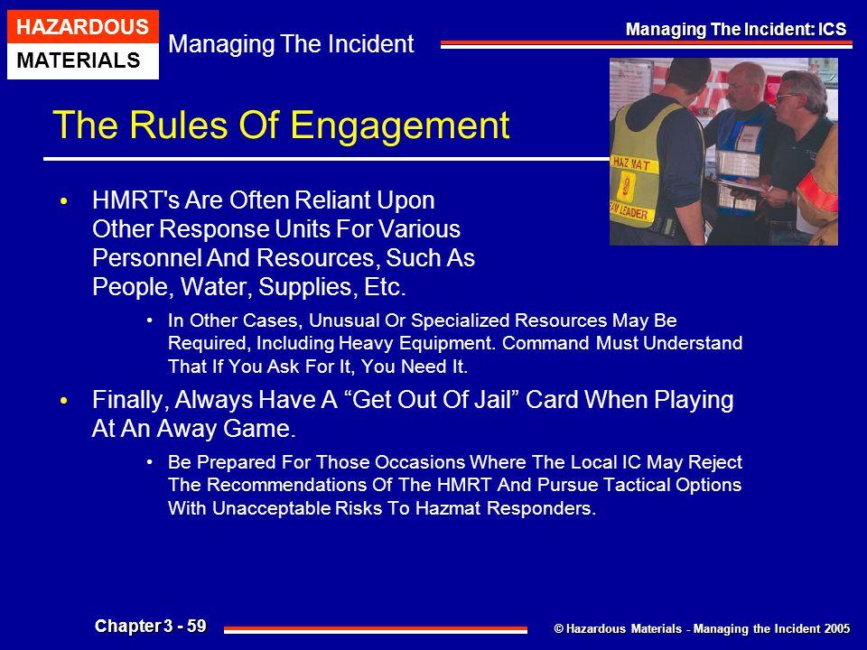© Hazardous Materials - Managing the Incident 2005 Managing The Incident HAZARDOUS MATERIALS Chapter 3 - 59 Managing The Incident: ICS The Rules Of En