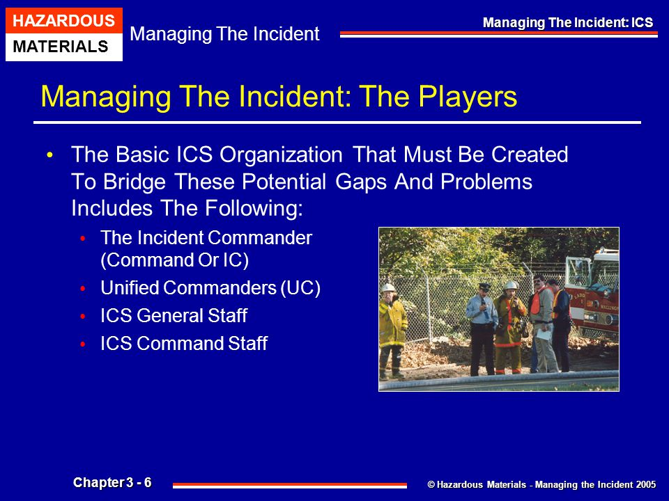 © Hazardous Materials - Managing the Incident 2005 Managing The Incident HAZARDOUS MATERIALS Chapter 3 - 17 Managing The Incident: ICS Pre-designated Incident Facilities Emergencies Require A Central Point For Communications And Coordination.