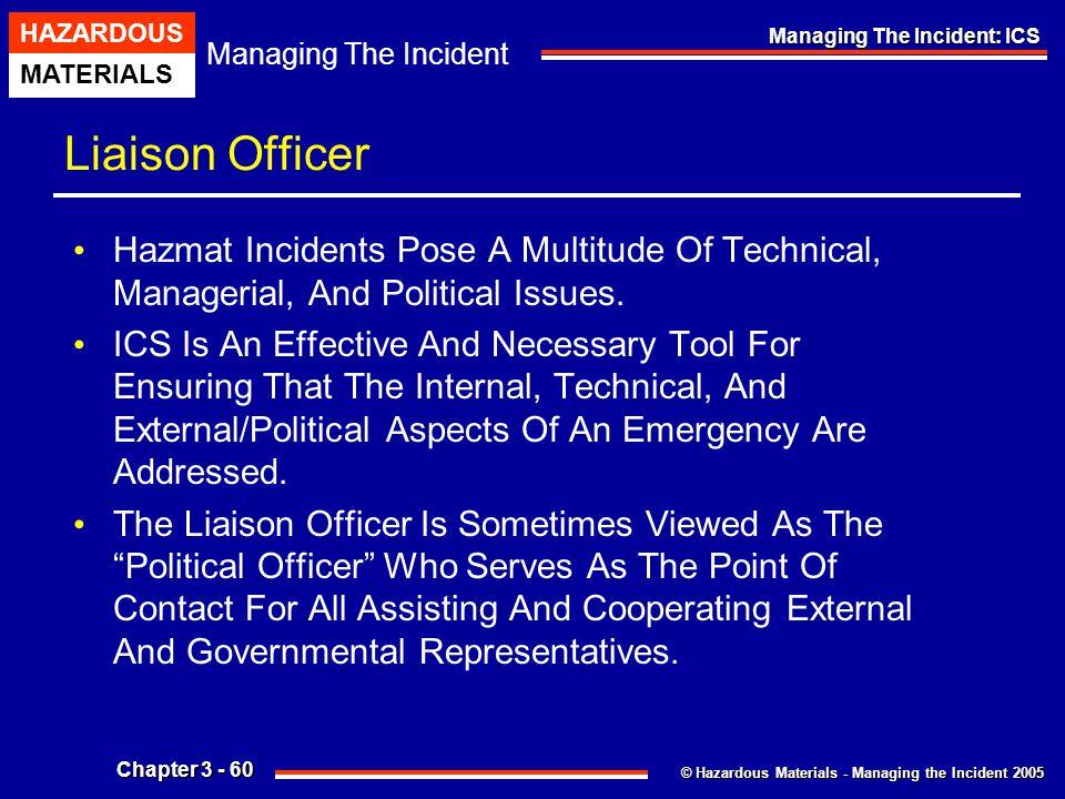 © Hazardous Materials - Managing the Incident 2005 Managing The Incident HAZARDOUS MATERIALS Chapter 3 - 60 Managing The Incident: ICS Liaison Officer