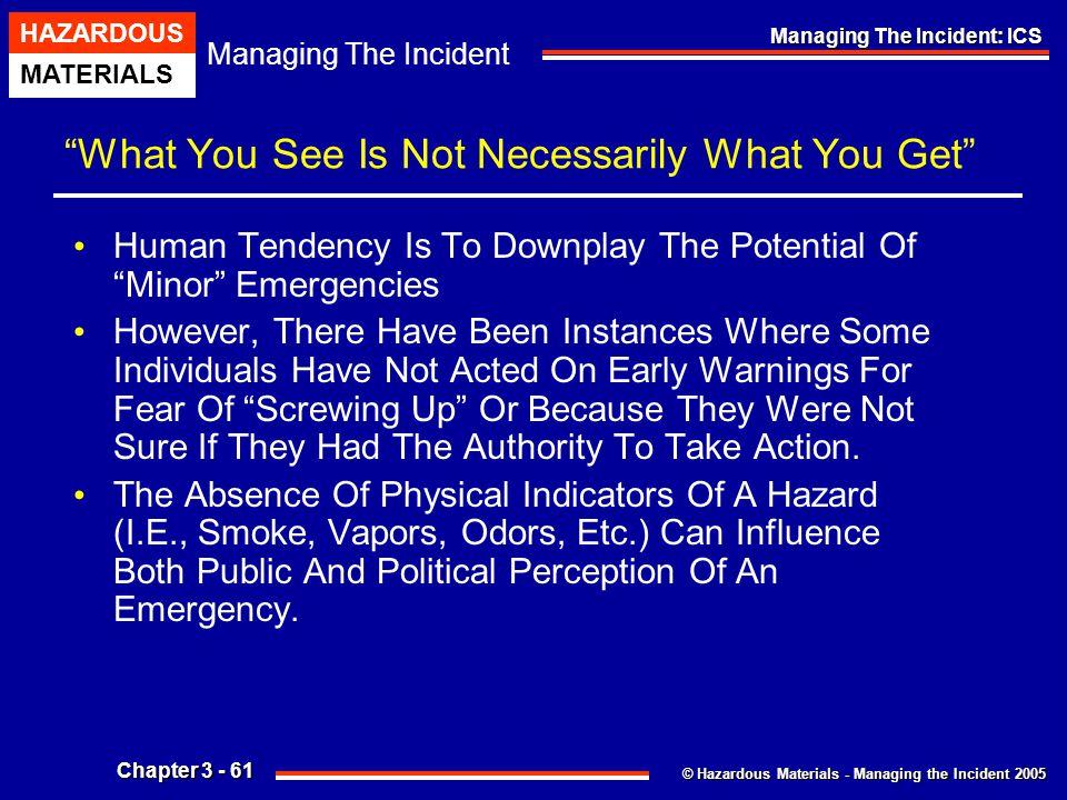 """© Hazardous Materials - Managing the Incident 2005 Managing The Incident HAZARDOUS MATERIALS Chapter 3 - 61 Managing The Incident: ICS """"What You See I"""
