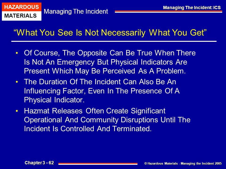 """© Hazardous Materials - Managing the Incident 2005 Managing The Incident HAZARDOUS MATERIALS Chapter 3 - 62 Managing The Incident: ICS """"What You See I"""