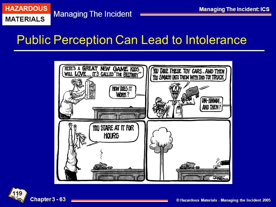 © Hazardous Materials - Managing the Incident 2005 Managing The Incident HAZARDOUS MATERIALS Chapter 3 - 63 Managing The Incident: ICS Public Percepti