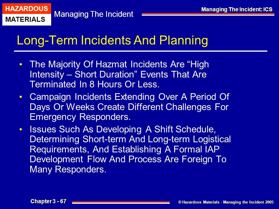 © Hazardous Materials - Managing the Incident 2005 Managing The Incident HAZARDOUS MATERIALS Chapter 3 - 67 Managing The Incident: ICS Long-Term Incid