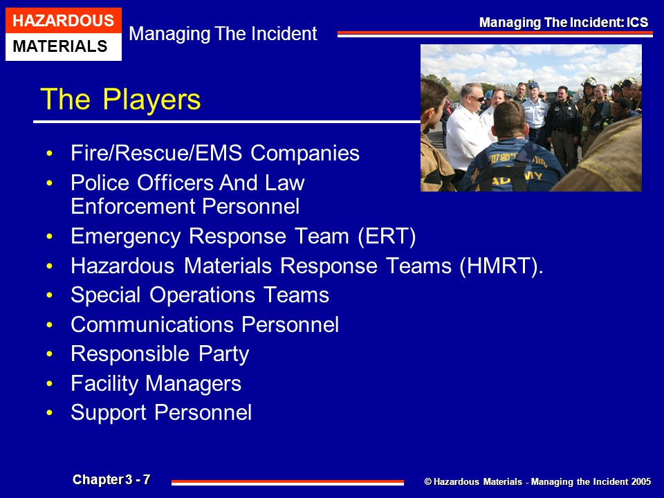 © Hazardous Materials - Managing the Incident 2005 Managing The Incident HAZARDOUS MATERIALS Chapter 3 - 38 Managing The Incident: ICS Hazardous Materials Group Staffing Hazardous Materials Group Safety Officer (Assistant Safety Officer – Hazmat) Specific Functions And Responsibilities Of The Hazardous Materials Group Safety Officer Include: Advise The Hazardous Materials Group Supervisor Of All Aspects Of Health And Safety, Including Work/Rest Cycles For The Entry Team.
