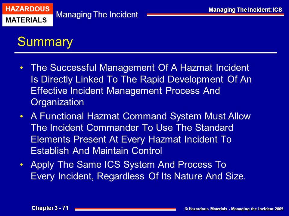 © Hazardous Materials - Managing the Incident 2005 Managing The Incident HAZARDOUS MATERIALS Chapter 3 - 71 Managing The Incident: ICS Summary The Suc
