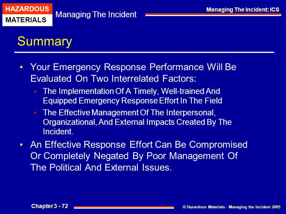© Hazardous Materials - Managing the Incident 2005 Managing The Incident HAZARDOUS MATERIALS Chapter 3 - 72 Managing The Incident: ICS Summary Your Em