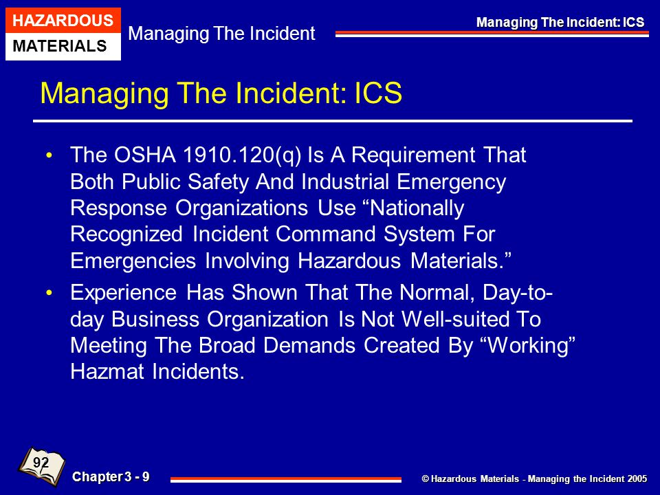 © Hazardous Materials - Managing the Incident 2005 Managing The Incident HAZARDOUS MATERIALS Chapter 3 - 50 Managing The Incident: ICS Command And Control Experienced Officers Often Regard The Problem In Enemy-oriented, Pessimistic Terms.