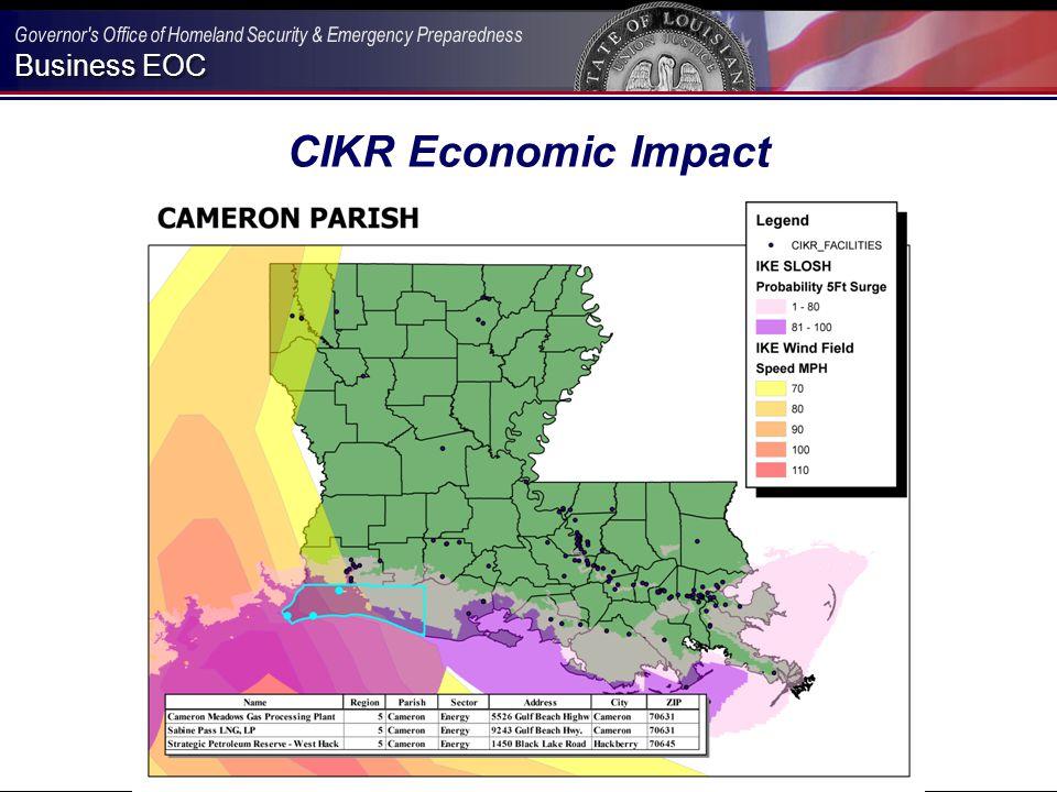 Business EOC CIKR Economic Impact