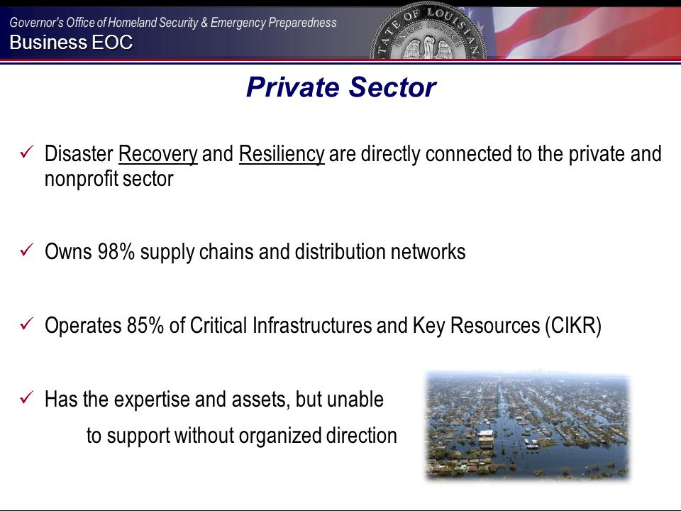 Business EOC Louisiana Business Emergency Operations Center A Partnership Of