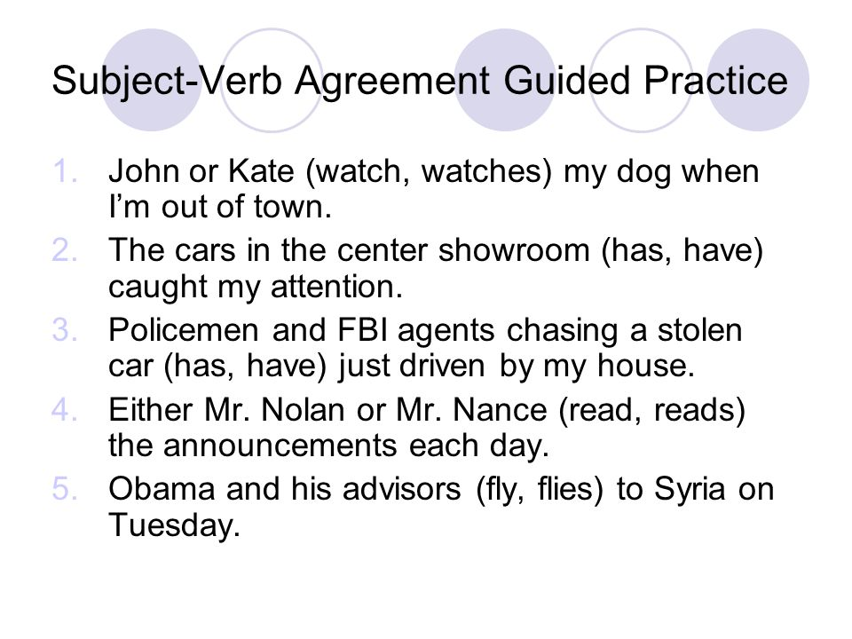 Subject-Verb Agreement Guided Practice 1.John or Kate (watch, watches) my dog when I'm out of town. 2.The cars in the center showroom (has, have) caug