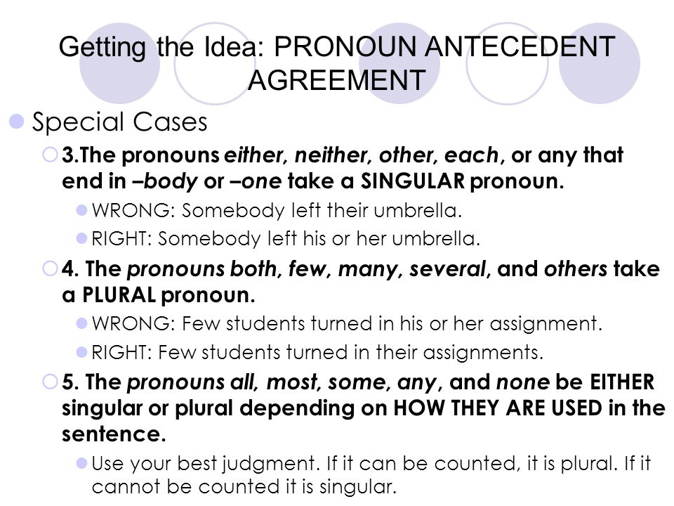 Getting the Idea: PRONOUN ANTECEDENT AGREEMENT Special Cases  3.The pronouns either, neither, other, each, or any that end in –body or – one take a S